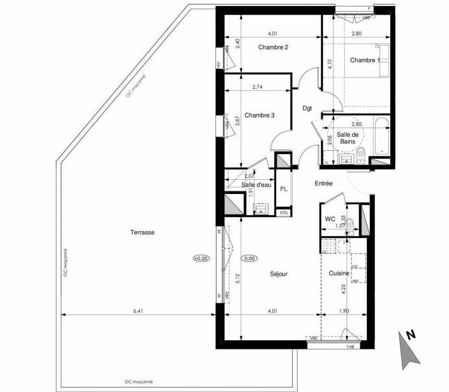 Plan C51, appartement neuf type T4 au 5ème étage, faisant 81m² du programme neuf Les Jardins d'Elise à Angers.
