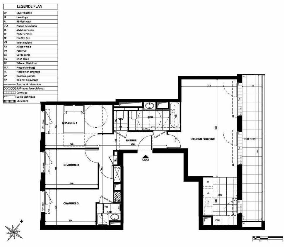 Plan C542, appartement neuf type T4 au 5ème étage, orienté Nord faisant 78m² du programme neuf L'INSTANT à Clichy.