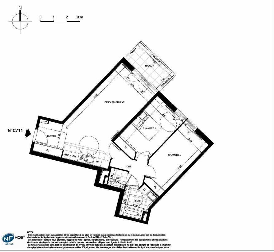 Plan C711, appartement neuf type T3 au 7ème étage, faisant 71m² du programme neuf PRYSM à Clichy.