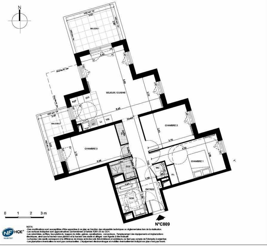 Plan C809, appartement neuf type T4 au 8ème étage, faisant 84m² du programme neuf PRYSM à Clichy.