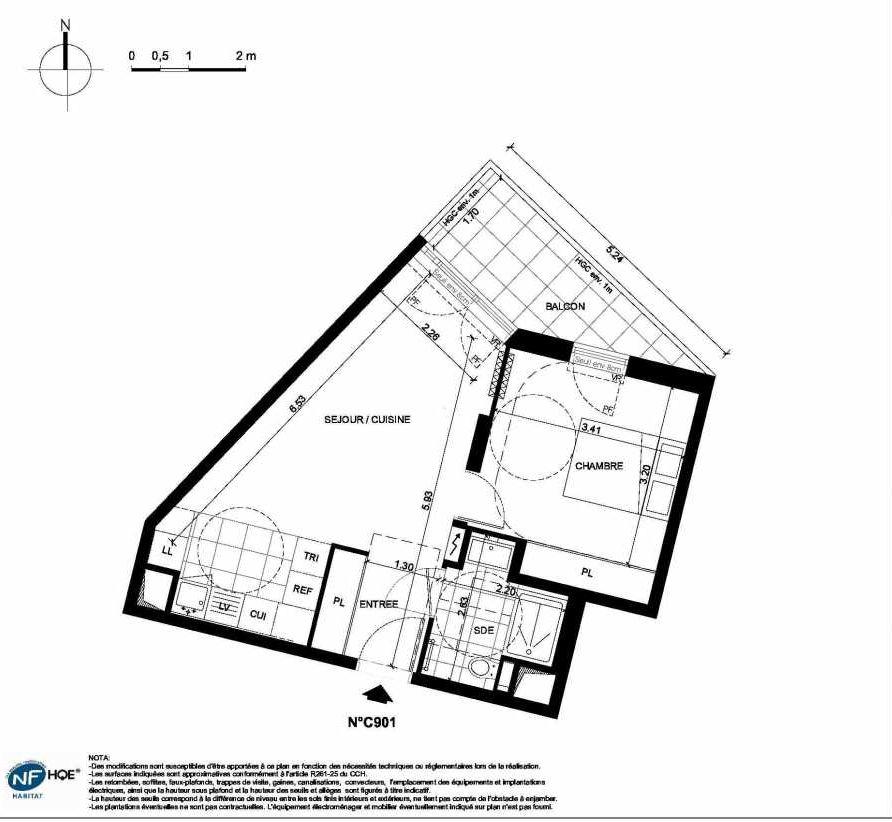 Plan C901, appartement neuf type T2 au 9ème étage, faisant 42m² du programme neuf PRYSM à Clichy.