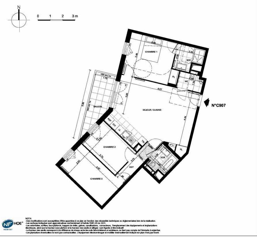 Plan C907, appartement neuf type T4 au 9ème étage, faisant 81m² du programme neuf PRYSM à Clichy.