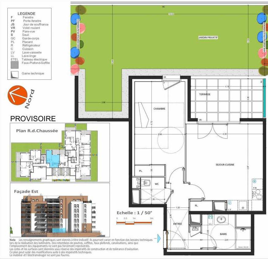 Plan D.101, appartement neuf type T2 au Rez de chaussée, orienté Est faisant 49m² du programme neuf Grand Angle à Annecy.