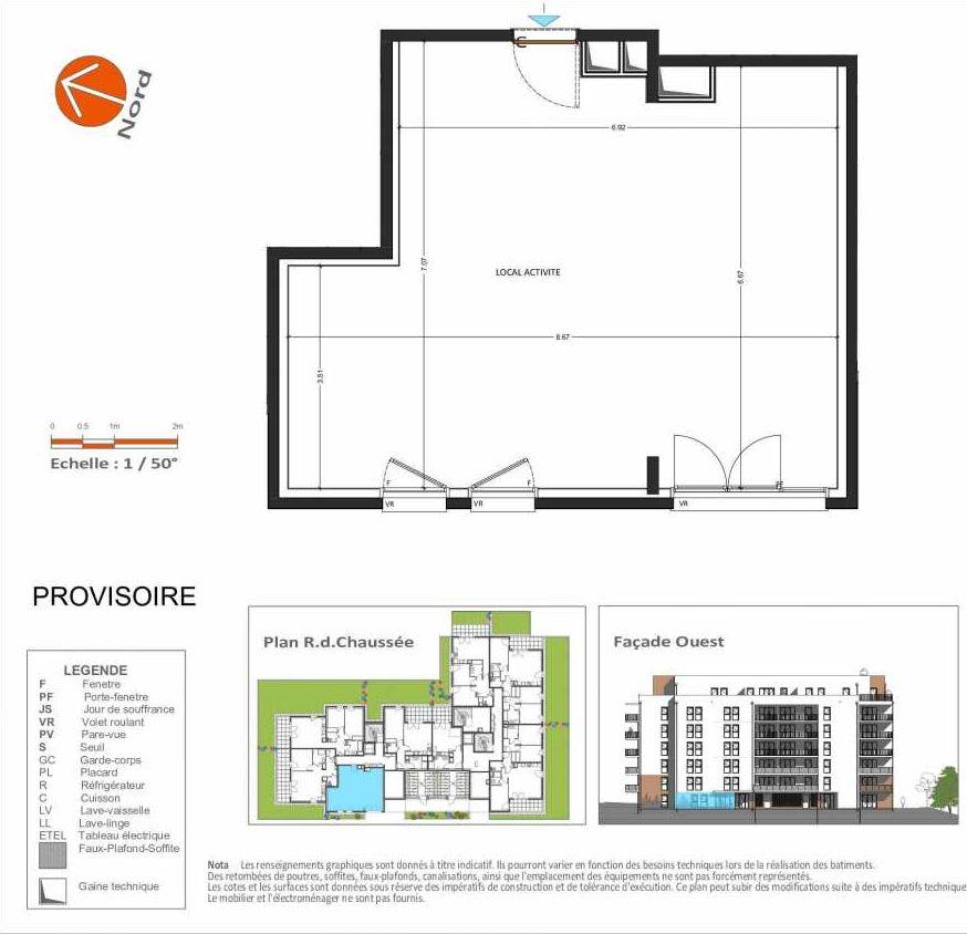 Plan D.102, appartement neuf au Rez de chaussée, orienté Ouest faisant 53m² du programme neuf Grand Angle à Annecy.