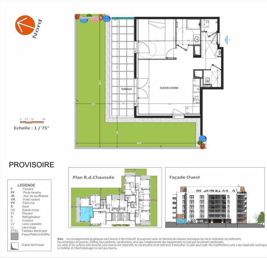 Plan D.103, appartement neuf, orienté Nord faisant 50m² du programme neuf Grand Angle à Annecy.