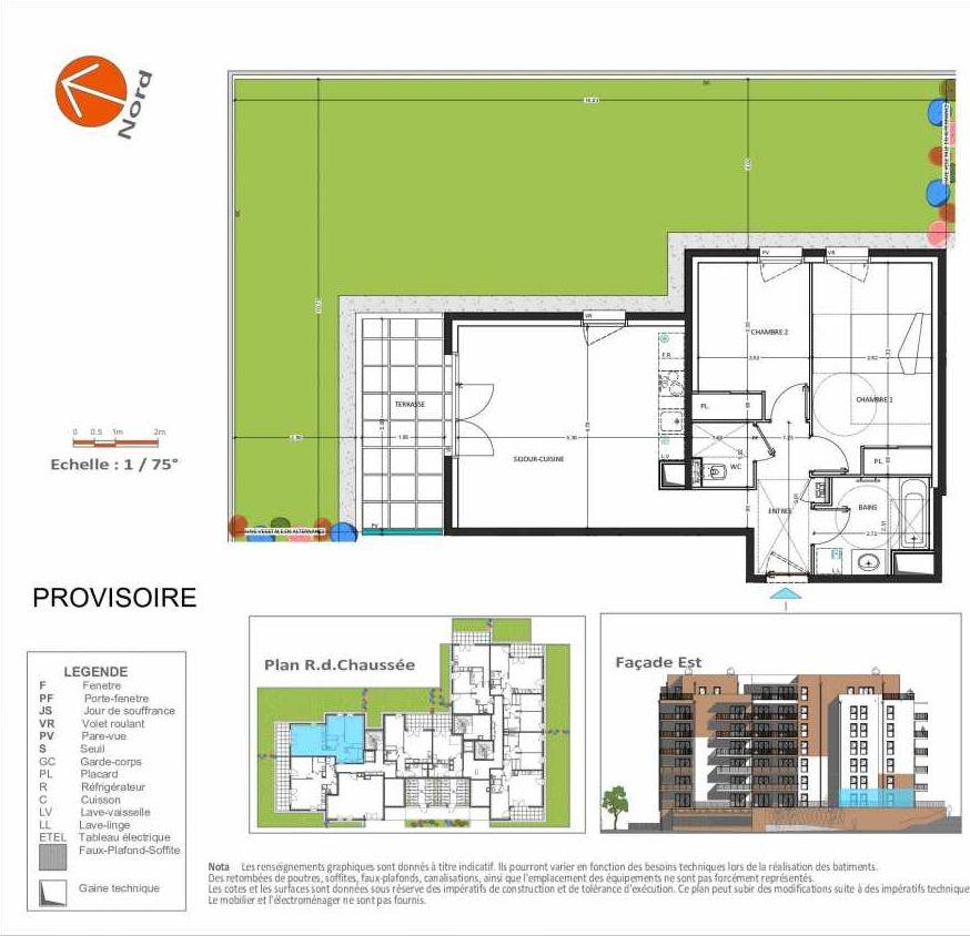 Plan D.104, appartement neuf type T3 au Rez de chaussée, orienté Est faisant 62m² du programme neuf Grand Angle à Annecy.