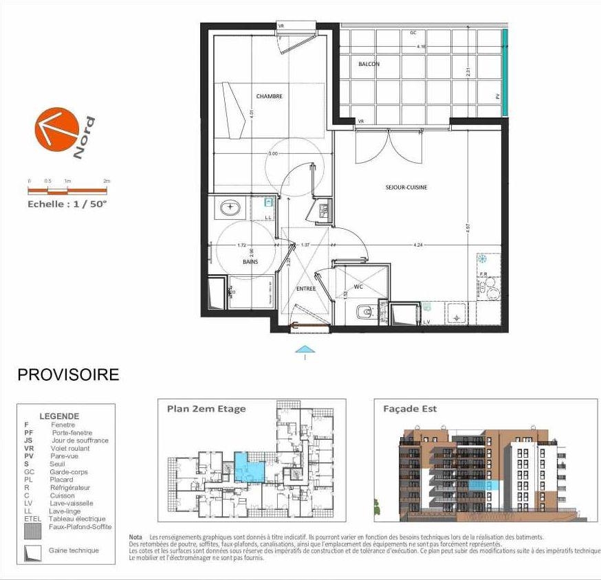 Plan D.121, appartement neuf, orienté Est faisant 41m² du programme neuf Grand Angle à Annecy.