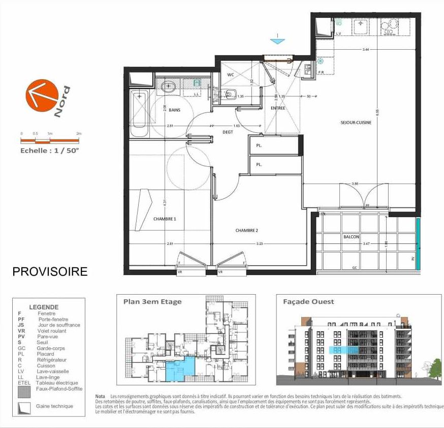Plan D.132, appartement neuf type T3 au 3ème étage, orienté Ouest faisant 62m² du programme neuf Grand Angle à Annecy.