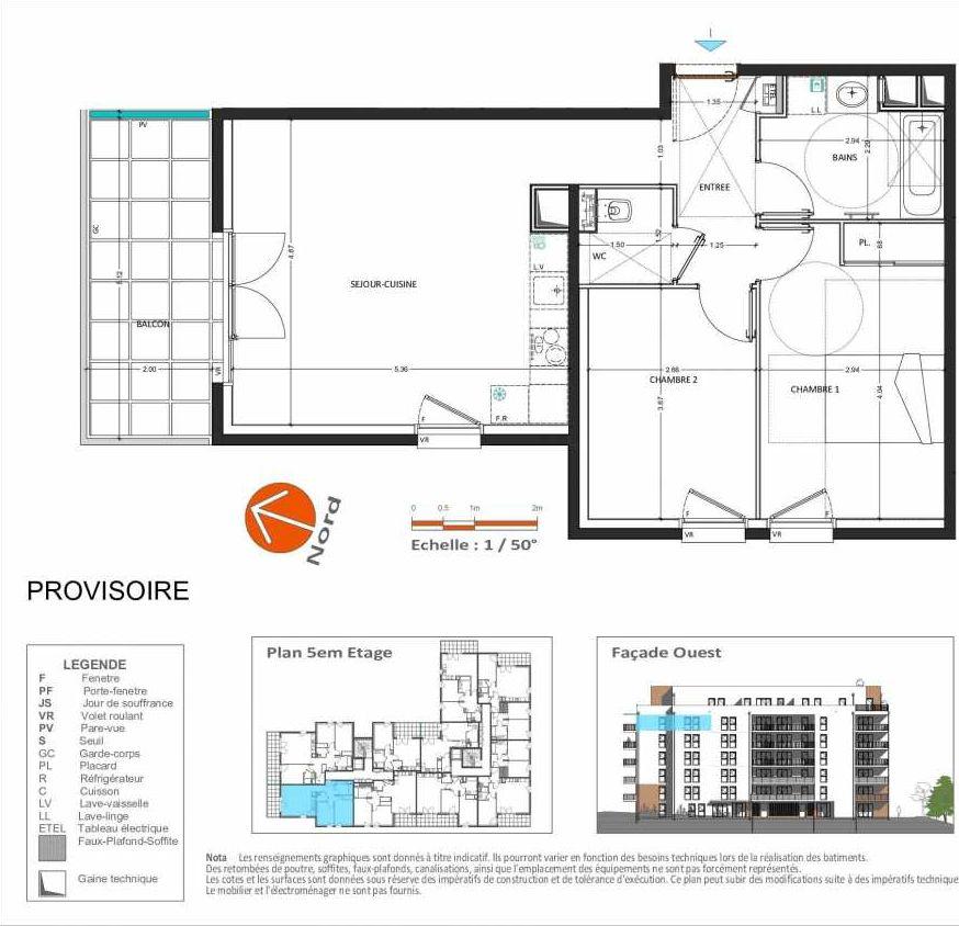 Plan D.153, appartement neuf type T3 au 5ème étage, orienté Ouest faisant 63m² du programme neuf Grand Angle à Annecy.