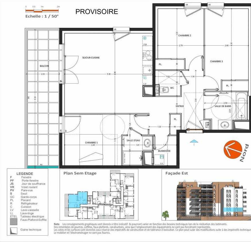 Plan D.154, appartement neuf type T4 au 5ème étage, orienté Est faisant 83m² du programme neuf Grand Angle à Annecy.