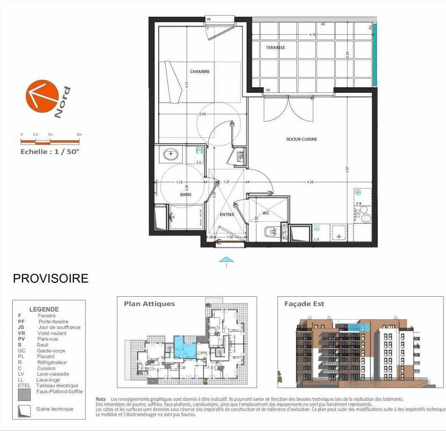 Plan D.161, appartement neuf, orienté Est faisant 40m² du programme neuf Grand Angle à Annecy.