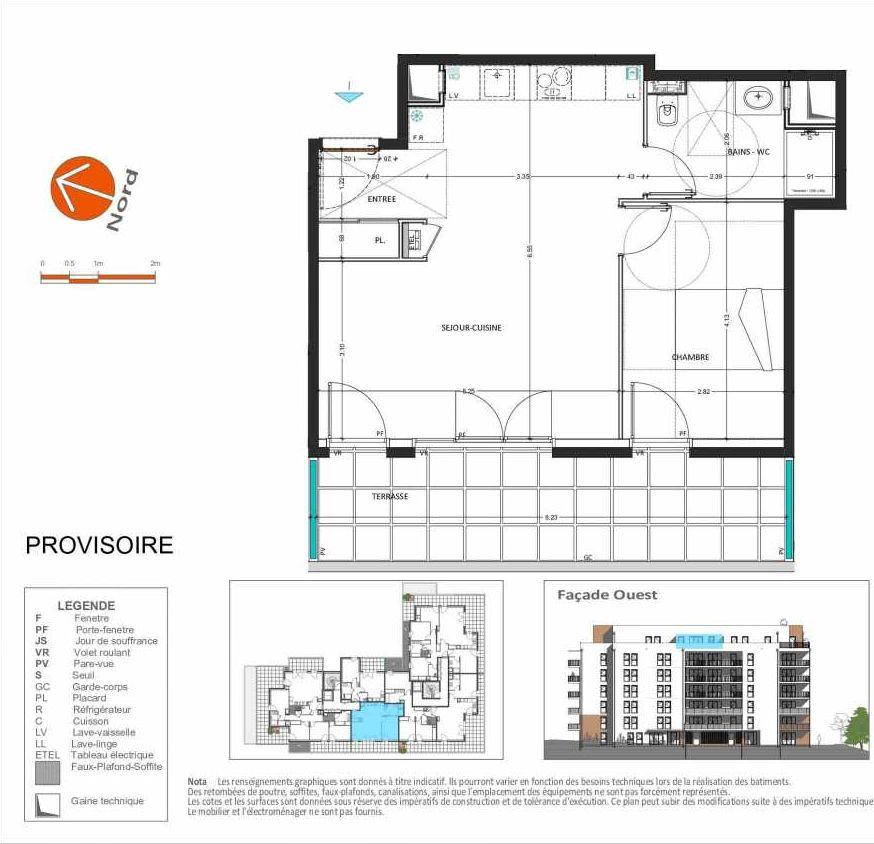 Plan D.162, appartement neuf, orienté Ouest faisant 50m² du programme neuf Grand Angle à Annecy.