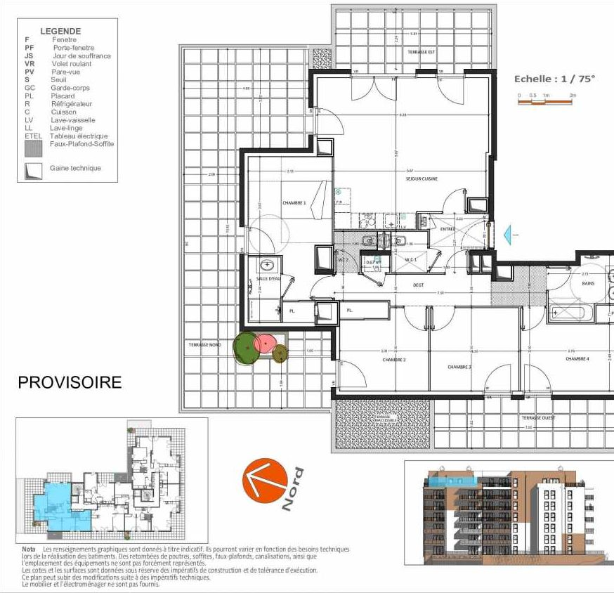 Plan D.163, appartement neuf, orienté Ouest faisant 104m² du programme neuf Grand Angle à Annecy.