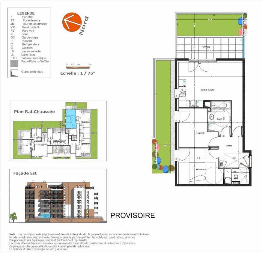 Plan D.201, appartement neuf, orienté Est faisant 58m² du programme neuf Grand Angle à Annecy.