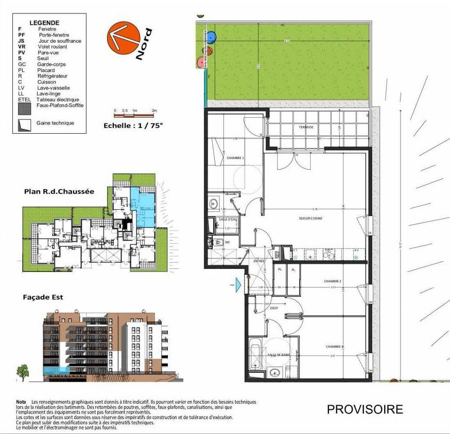 Plan D.202, appartement neuf, orienté Sud faisant 82m² du programme neuf Grand Angle à Annecy.