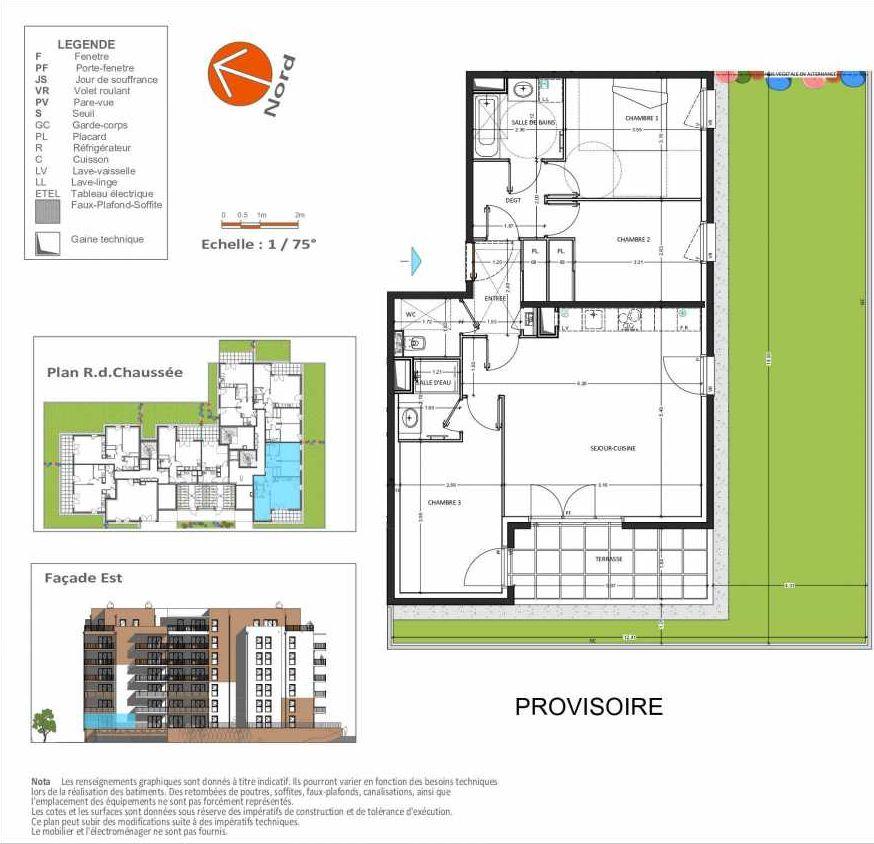 Plan D.203, appartement neuf, orienté Sud faisant 81m² du programme neuf Grand Angle à Annecy.