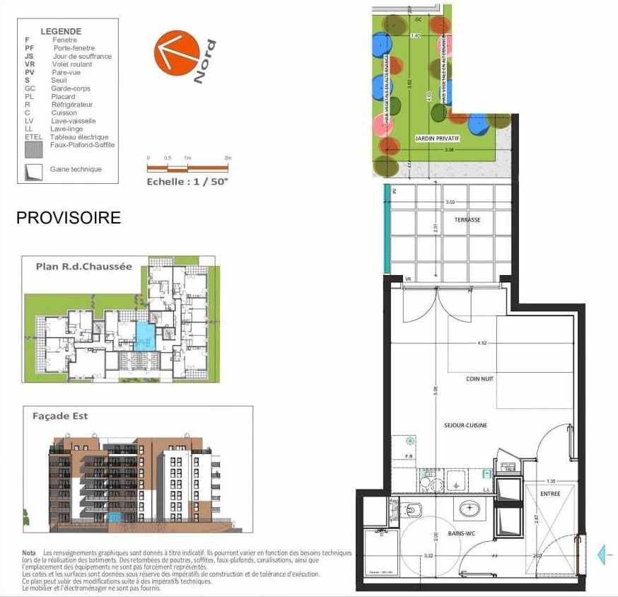 Plan D.204, appartement neuf, orienté Est faisant 30m² du programme neuf Grand Angle à Annecy.