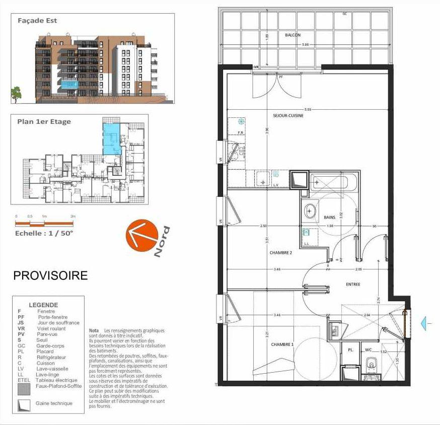 Plan D.211, appartement neuf type T3 au 1er étage, orienté Est faisant 58m² du programme neuf Grand Angle à Annecy.
