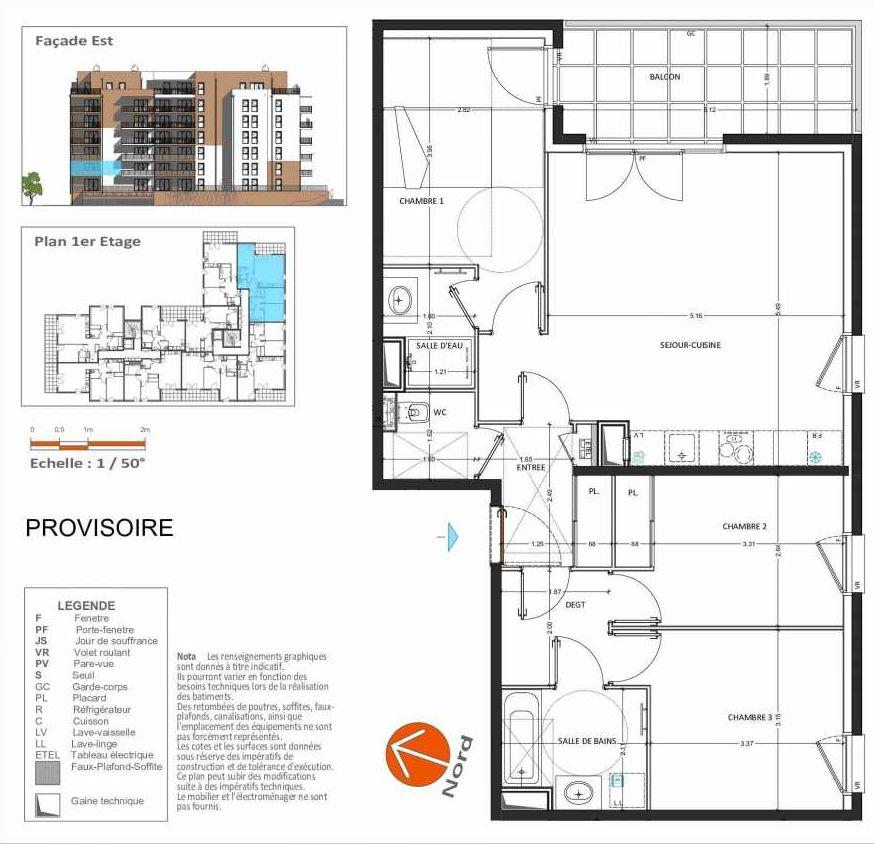 Plan D.212, appartement neuf type T4 au 1er étage, orienté Sud faisant 82m² du programme neuf Grand Angle à Annecy.
