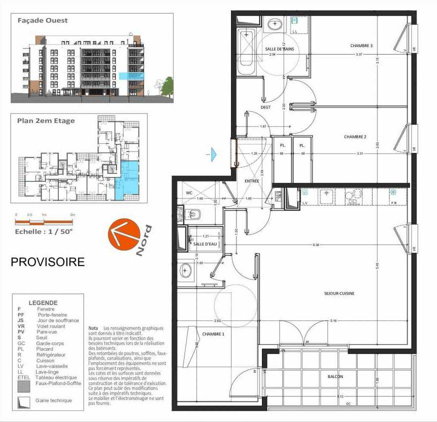 Plan D.223, appartement neuf type T4 au 2ème étage, orienté Sud faisant 82m² du programme neuf Grand Angle à Annecy.