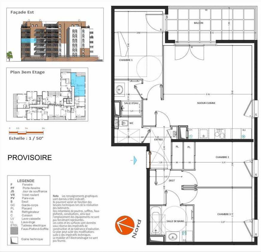 Plan D.232, appartement neuf type T4 au 3ème étage, orienté Sud faisant 82m² du programme neuf Grand Angle à Annecy.