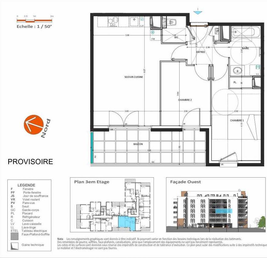 Plan D.234, appartement neuf type T3 au 3ème étage, orienté Ouest faisant 60m² du programme neuf Grand Angle à Annecy.