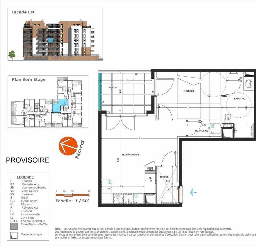 Plan D.235, appartement neuf type T2 au 3ème étage, orienté Est faisant 42m² du programme neuf Grand Angle à Annecy.