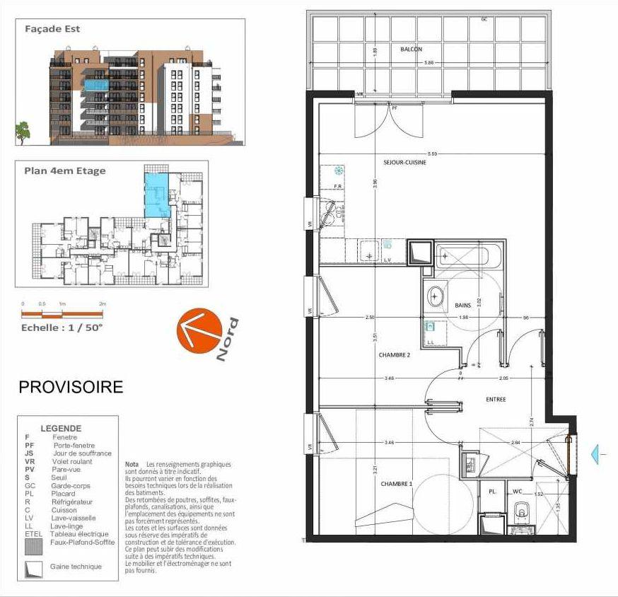 Plan D.241, appartement neuf type T3 au 4ème étage, orienté Est faisant 58m² du programme neuf Grand Angle à Annecy.