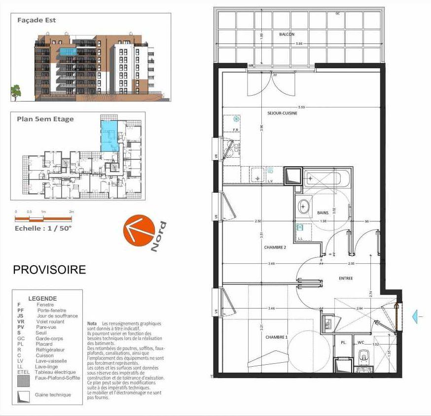 Plan D.251, appartement neuf, orienté Est faisant 58m² du programme neuf Grand Angle à Annecy.