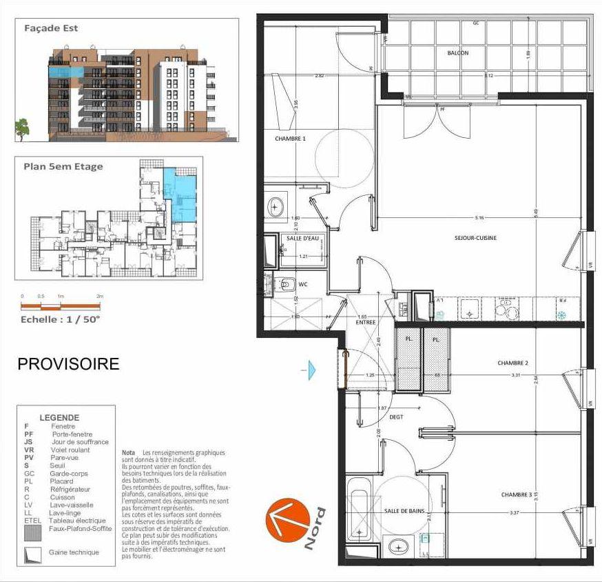 Plan D.252, appartement neuf, orienté Sud faisant 82m² du programme neuf Grand Angle à Annecy.