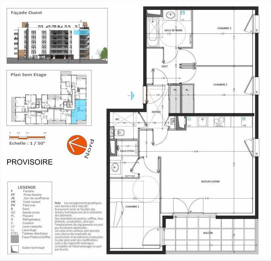 Plan D.253, appartement neuf, orienté Sud faisant 81m² du programme neuf Grand Angle à Annecy.