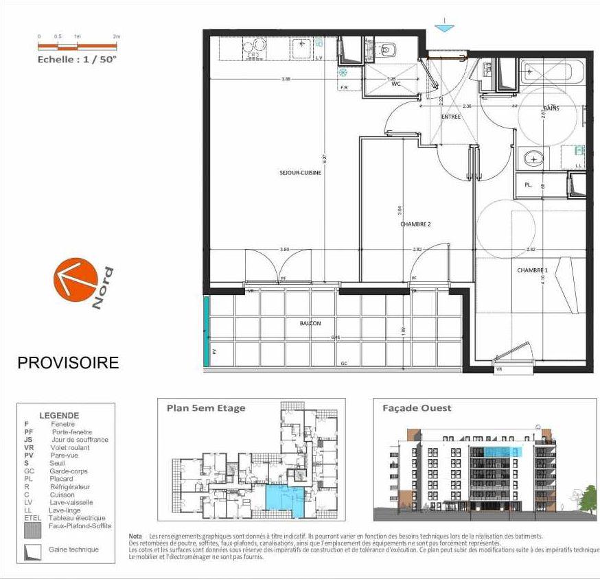 Plan D.254, appartement neuf, orienté Ouest faisant 60m² du programme neuf Grand Angle à Annecy.