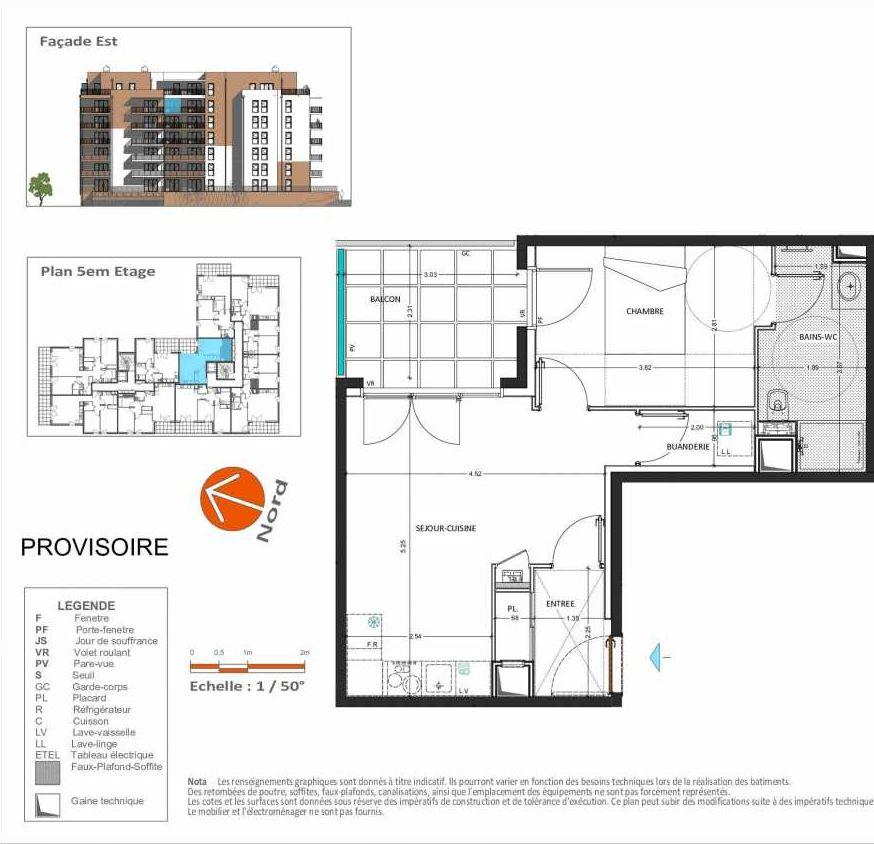 Plan D.255, appartement neuf, orienté Est faisant 42m² du programme neuf Grand Angle à Annecy.