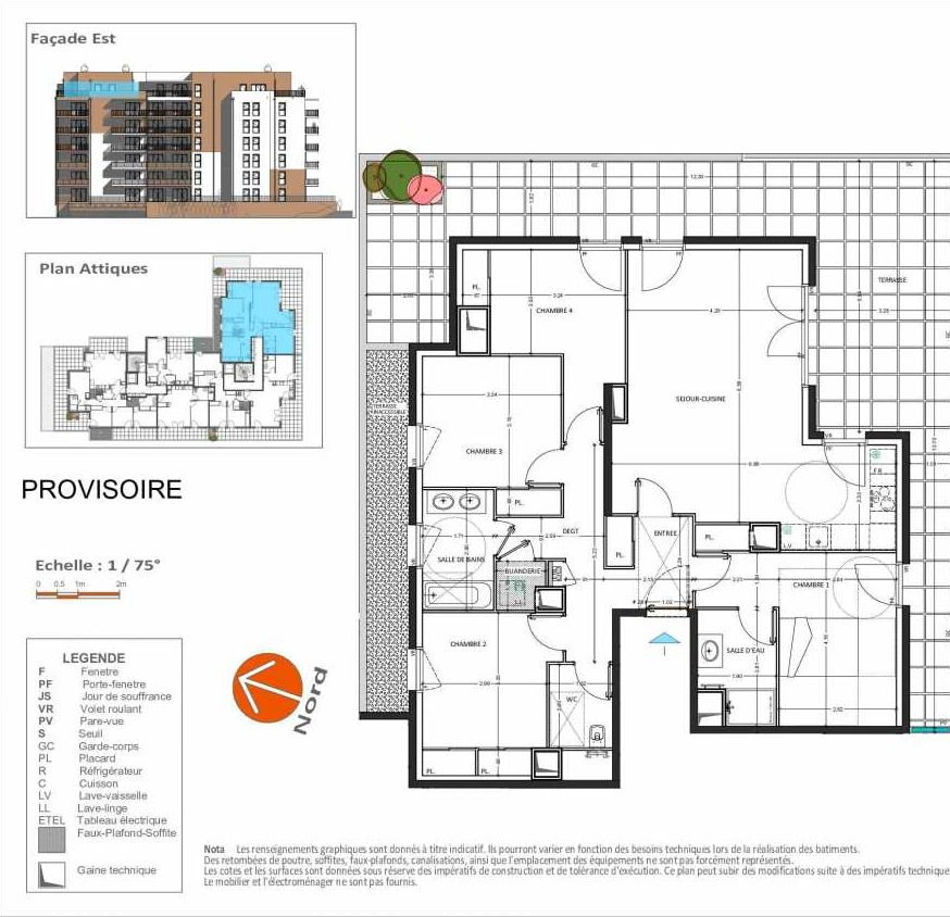 Plan D.261, appartement neuf, orienté Sud faisant 111m² du programme neuf Grand Angle à Annecy.