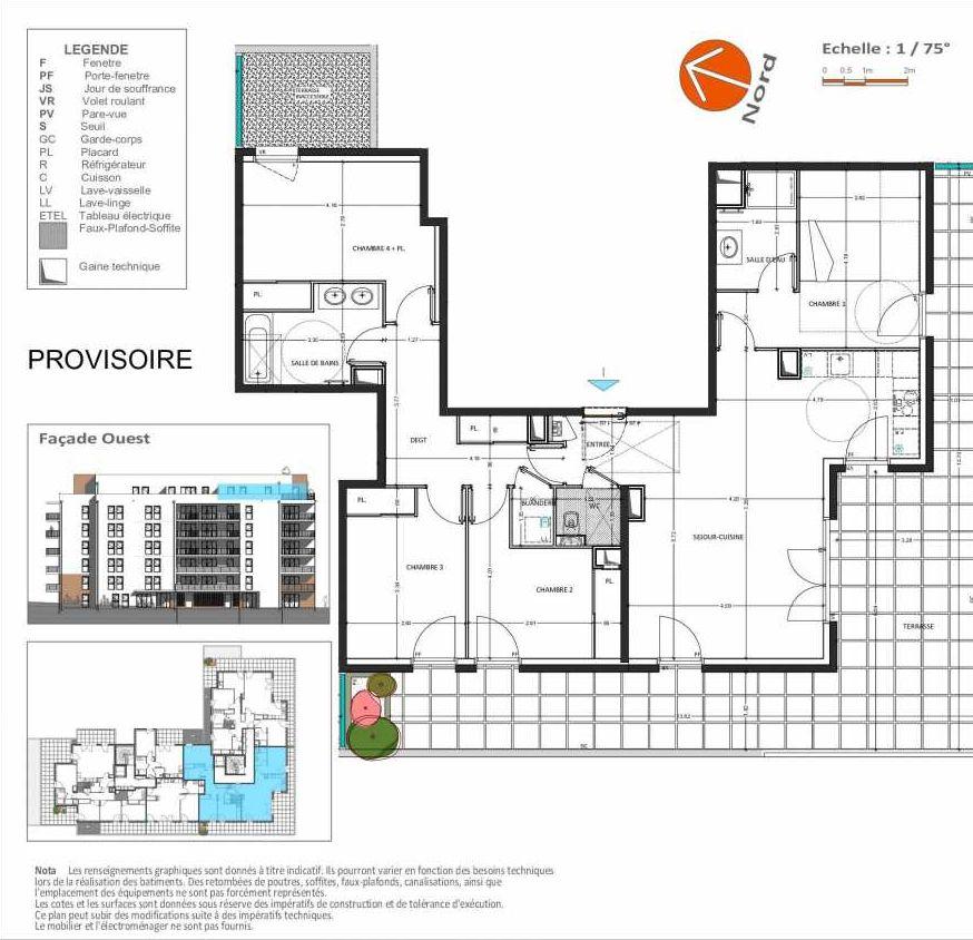 Plan D.262, appartement neuf, orienté Sud faisant 110m² du programme neuf Grand Angle à Annecy.