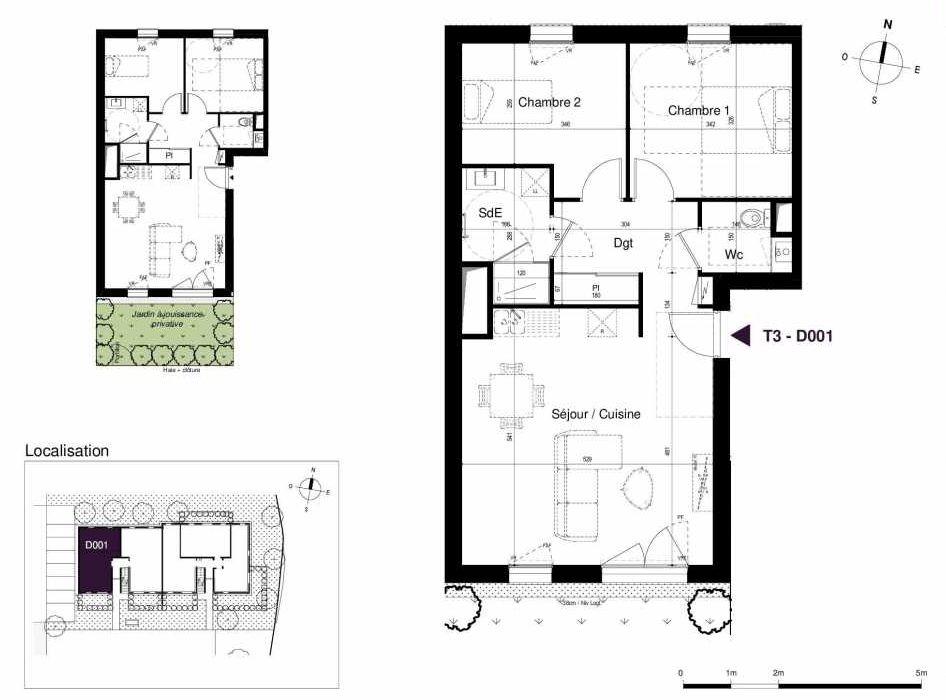 Plan D001, appartement neuf type T3 au Rez de chaussée, orienté Sud faisant 63m² du programme neuf LES RIVES DE LUCE à Sainte-Luce-sur-Loire.
