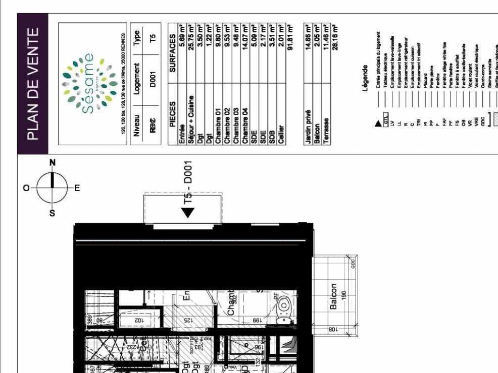 Plan D001, appartement neuf type T5 au Rez de chaussée, orienté Sud faisant 92m² du programme neuf SESAME à Rennes.