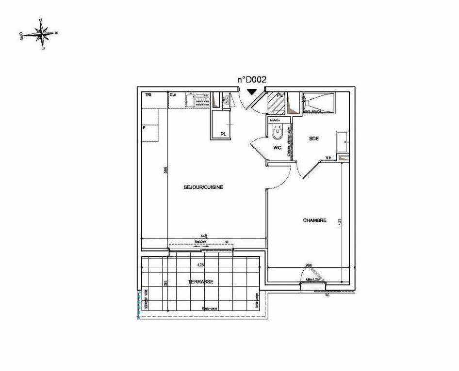 Plan D002, appartement neuf type T2 au Rez de chaussée, orienté Est faisant 44m² du programme neuf Coeur Mougins - Jardins des Sens et Jardins en Vue à Mougins.
