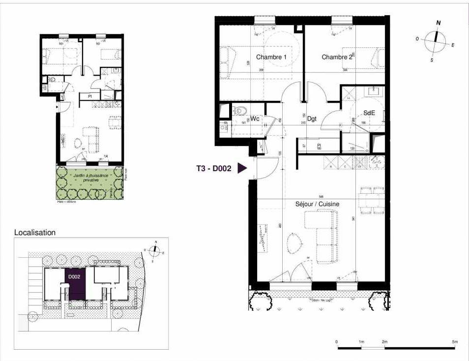 Plan D002, appartement neuf type T3 au Rez de chaussée, orienté Sud faisant 65m² du programme neuf LES RIVES DE LUCE à Sainte-Luce-sur-Loire.