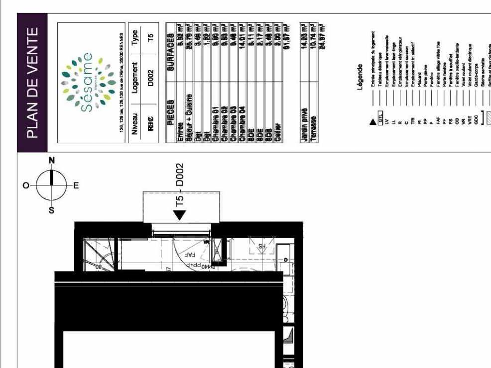 Plan D002, appartement neuf type T5 au Rez de chaussée, orienté Sud faisant 92m² du programme neuf SESAME à Rennes.