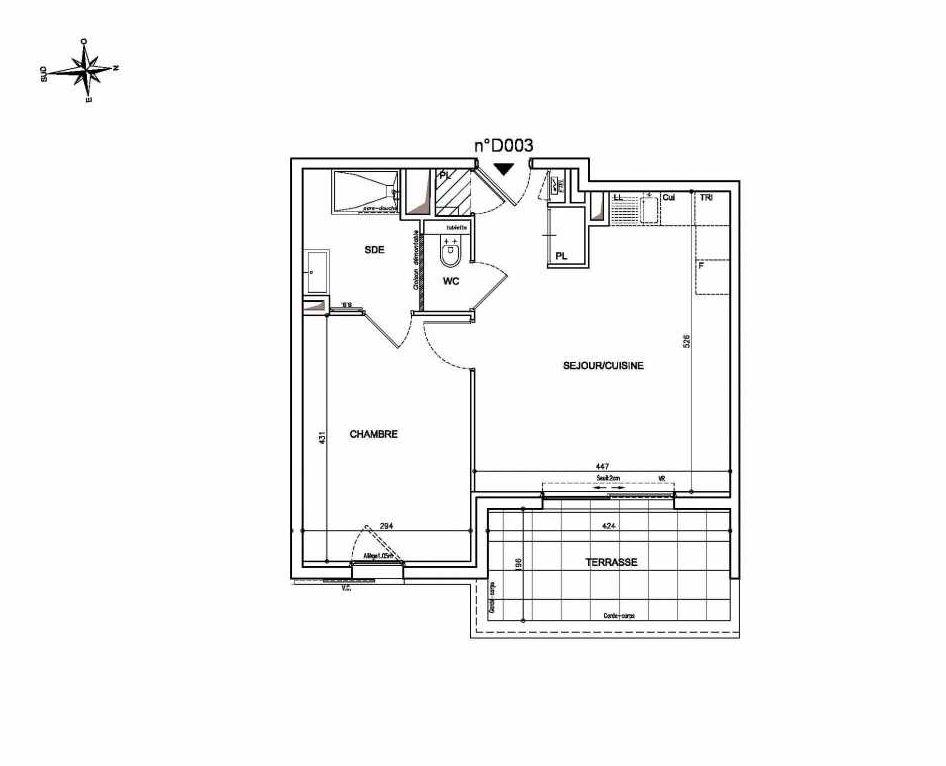 Plan D003, appartement neuf type T2 au Rez de chaussée, orienté Est faisant 43m² du programme neuf Coeur Mougins - Jardins des Sens et Jardins en Vue à Mougins.
