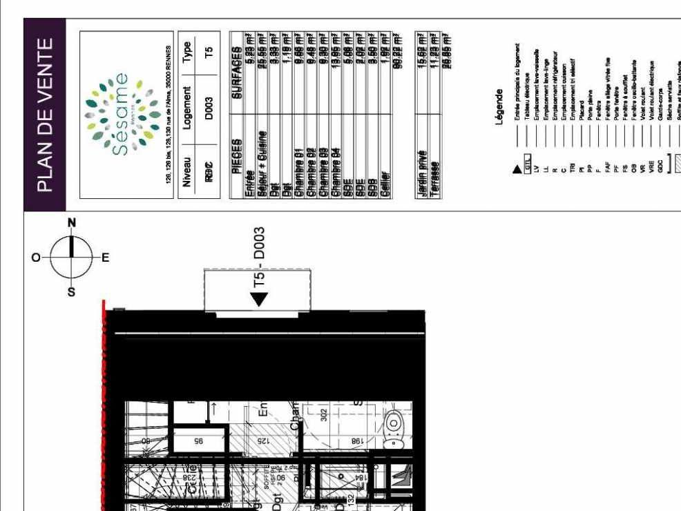Plan D003, appartement neuf type T5 au Rez de chaussée, orienté Sud faisant 90m² du programme neuf SESAME à Rennes.