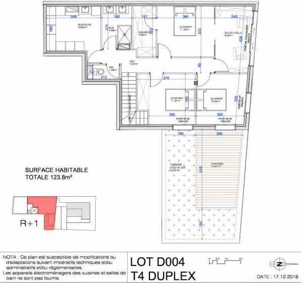 Plan D004, appartement neuf type T4 au Rez de jardin, orienté Nord faisant 124m² du programme neuf L'ESCAPADE à Le Pré-Saint-Gervais.