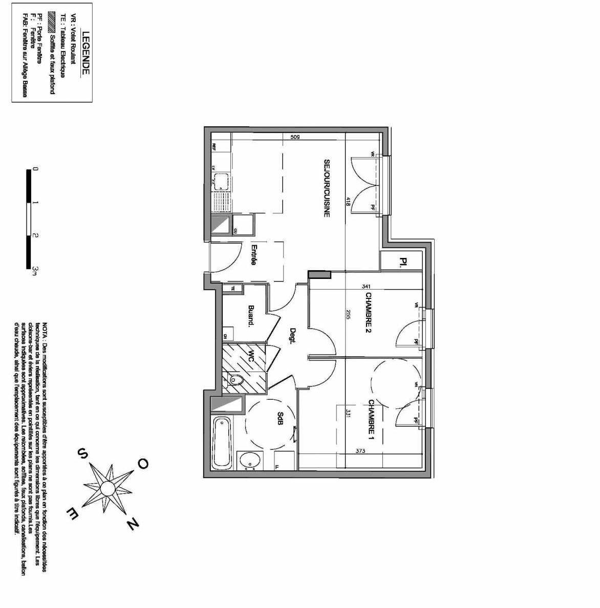 Plan D004, appartement neuf, faisant 57m² du programme neuf Villa Maxime à Vienne.