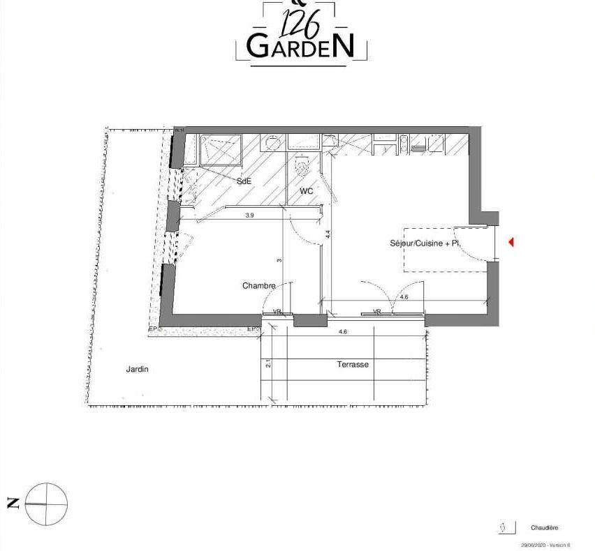 Plan D01, appartement neuf type T2 au Rez de chaussée, faisant 40m² du programme neuf 126 GARDEN à Toulouse.