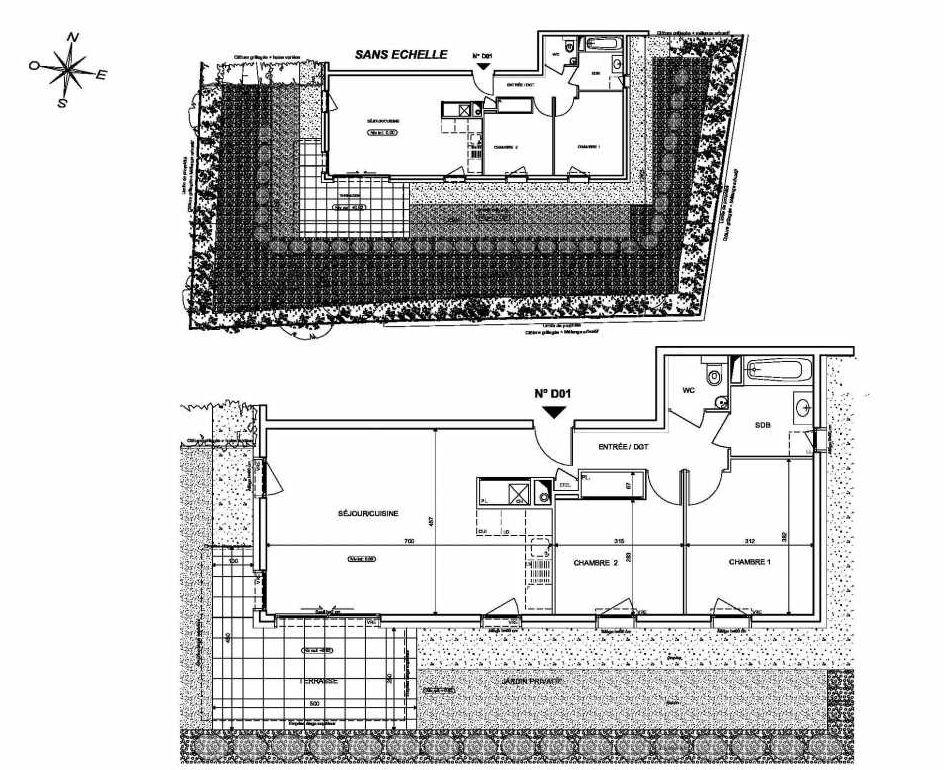 Plan D01, appartement neuf type T3 au Rez de chaussée, orienté Sud faisant 65m² du programme neuf INFINITY à Publier.