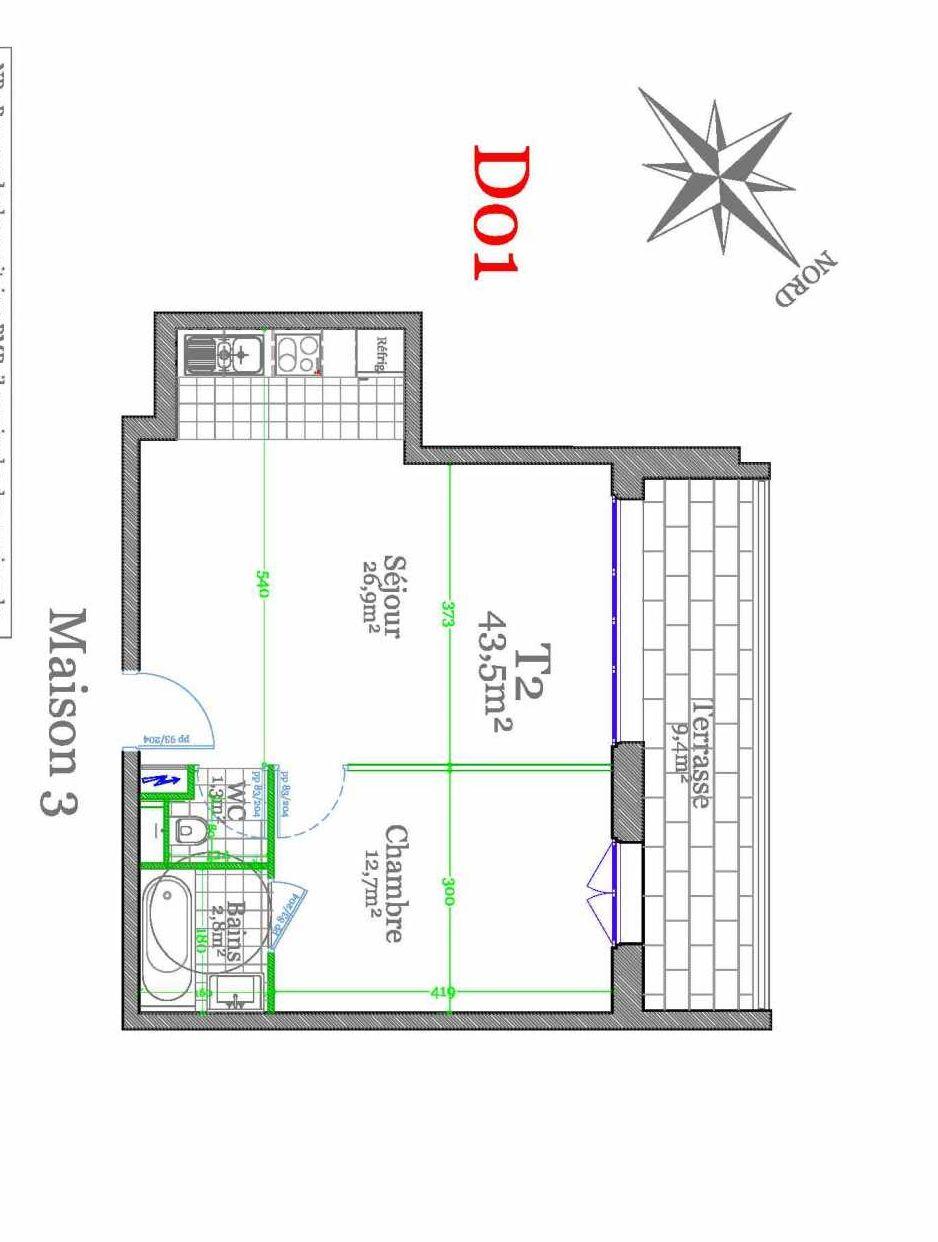 Plan D01, appartement neuf type T2 au 1er étage, orienté Nord faisant 43m² du programme neuf Les Jardins de Claye à Claye-Souilly.