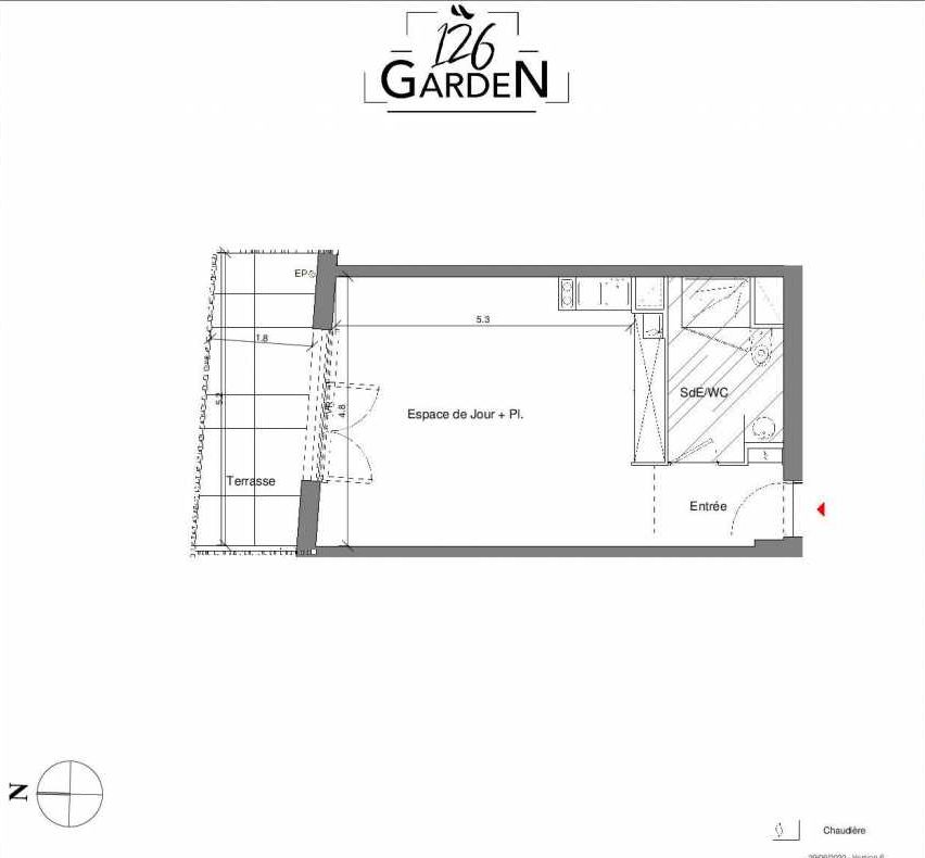 Plan D02, appartement neuf type T1 au Rez de chaussée, faisant 38m² du programme neuf 126 GARDEN à Toulouse.