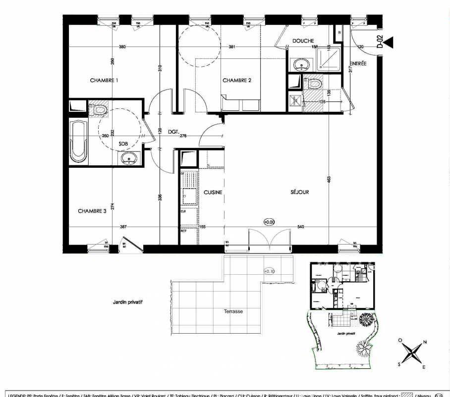 Plan D02, appartement neuf, orienté Sud faisant 81m² du programme neuf La Closeraie à Villeneuve-d'Ascq.