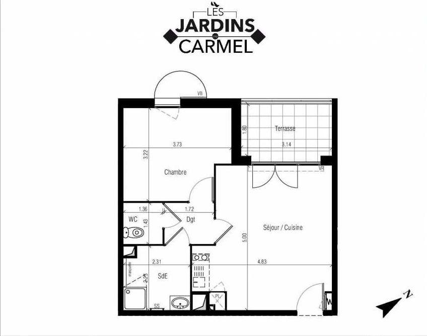 Plan D02, appartement neuf type T2 au Rez de chaussée, faisant 42m² du programme neuf Les Jardins du Carmel à Sète.
